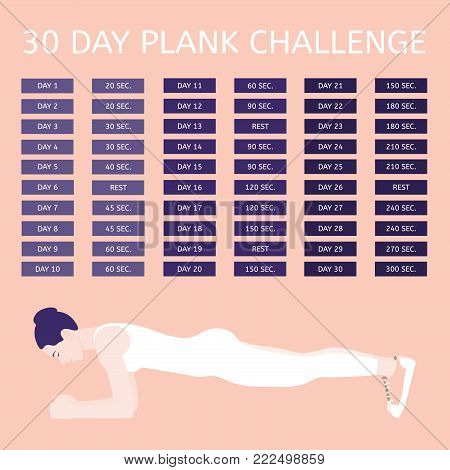 30 day plank challenge. Young woman performing an exercise «Plank
