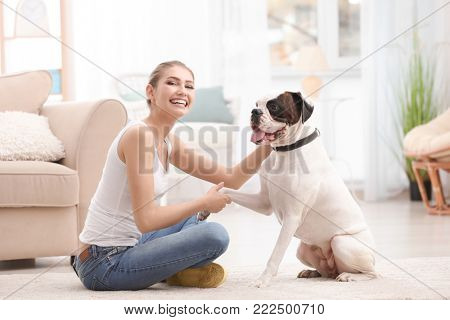 Woman with cute white Boxer dog indoors. Pet adoption