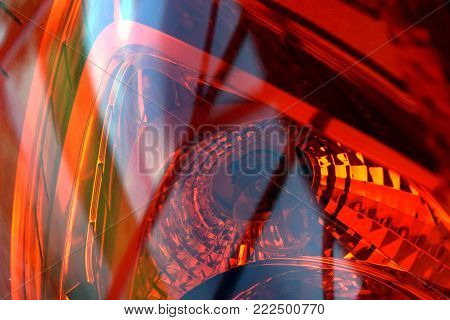 macro shot of a taillight, abstract colored back-light of a car