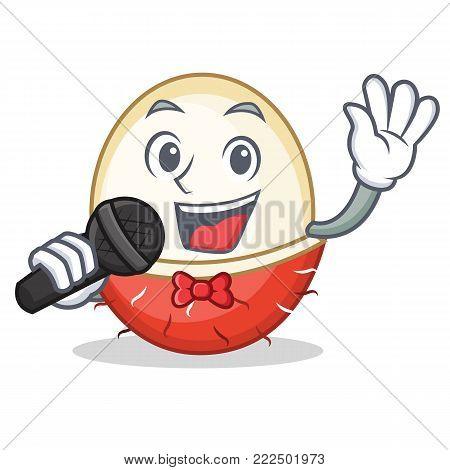 Singing rambutan mascot cartoon style vector illustration