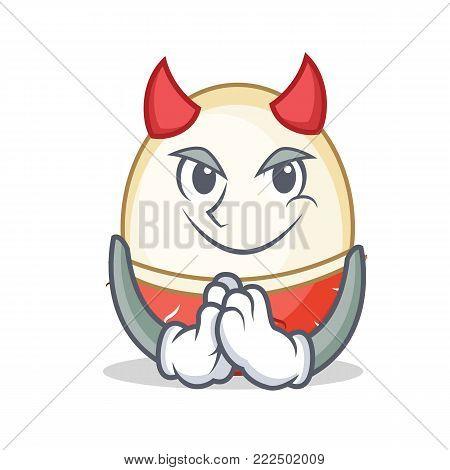 Devil rambutan mascot cartoon style vector illustration