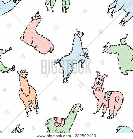Vector seamless pattern with  lama with decorations. Isolated outline cartoon baby llama. Hand drawn Peru animal guanaco, alpaca, vicuna. Drawing for print, fabric.
