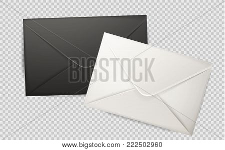 Vector realistic 3d black, white envelope. Standart empty post letter cover. Business post mail, office documents, message corporate identity design mockup template illustration transparent background