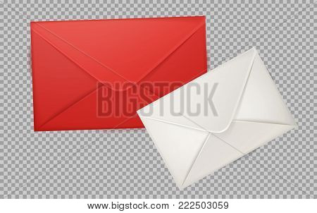 Vector realistic 3d red, white envelope. Standart empty post letter cover. Business post mail, office documents, message corporate identity design mockup template illustration transparent background