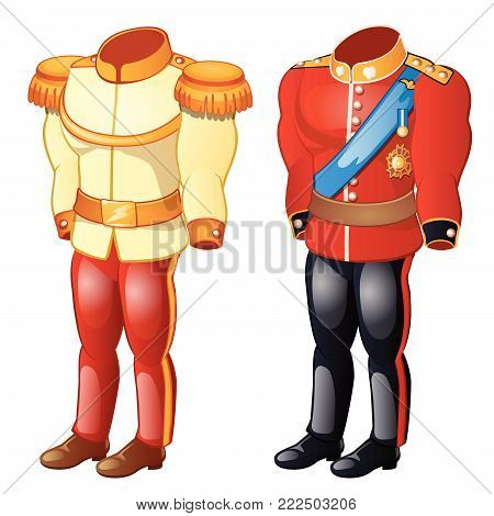 The uniform of the soldier of the past centuries isolated on white background. Vector cartoon close-up illustration.
