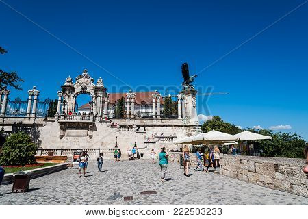 Budapest, Hungary - August 14, 2017: Terrace in Castle of Buda in Budapest a summer day with a crowd of tourists
