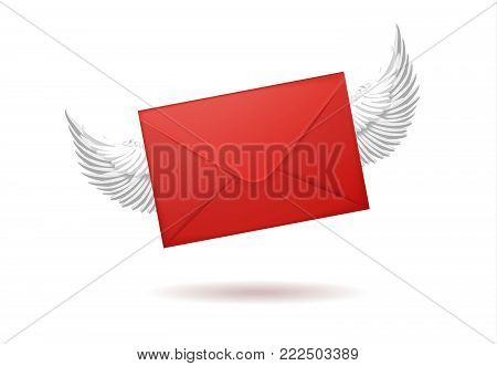 Vector realistic 3d red envelope with white angel wing. Standart empty post letter cover. Business post mail, office documents, message corporate identity design mockup template. Isolated illustration
