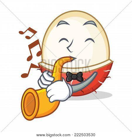 With trumpet rambutan mascot cartoon style vector illustration