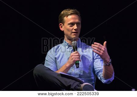 LOS ANGELES, CALIFORNIA - JANUARY 17, 2018:POD Save The World host Tommy Vietor discussing the documentary