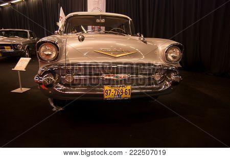 TEL-AVIV, ISRAEL - APRIL 1, 2010: 1957 Chevrolet Bel Air  presented on Tel-Aviv Motor Show