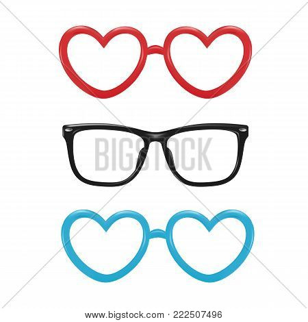Vector realistic eyeglasses heart, square shape for photobooth, photo props design. 3d illustration for valentine holiday party celebration scrapbooking, selfie apps. Isolated white background