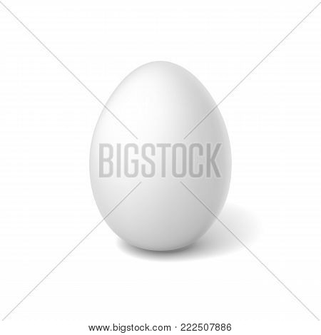 Vectro realistic 3d chicken egg with white eggshell. Easter holiday spring symbol organic raw uncooked natural farm product. Healthy eating lifestyle advertising Isolated illustration white background