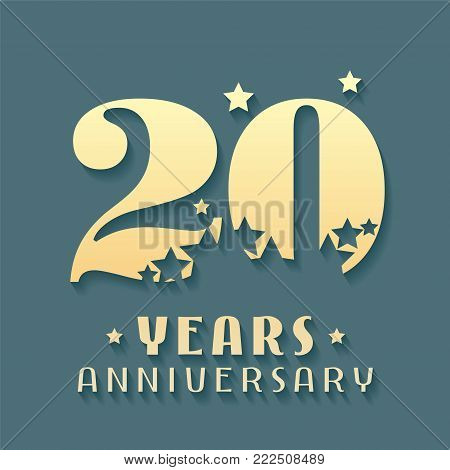 20 years anniversary vector icon, symbol, logo. Graphic design element for 20th anniversary birthday card