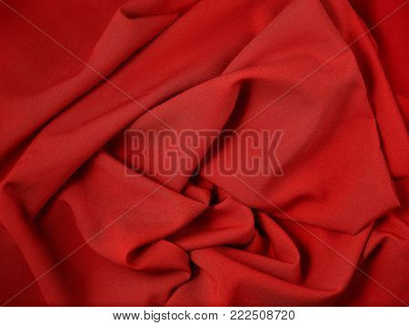 The red abstract cloth, fabric background and texture, curtain theater