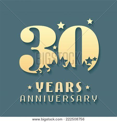30 years anniversary vector icon, symbol, logo. Graphic design element for 30th anniversary birthday card