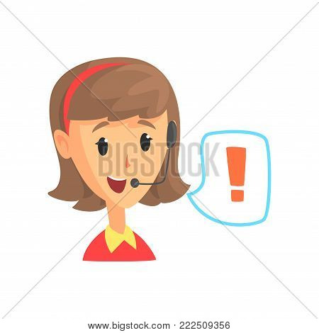 Female call center worker and speech bubble with attention sign, online customer support service assistant with headphones, cartoon vector Illustration isolated on a white background