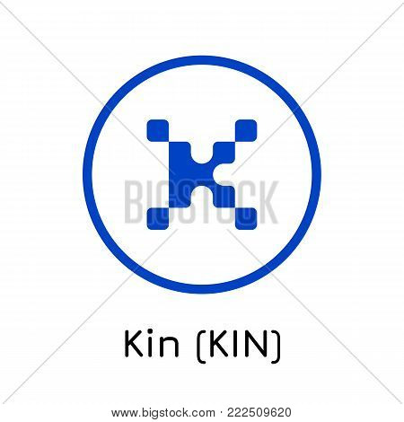 Vector illustration crypto coin icon on isolated white background Kin (KIN). Name of the crypto currency and the short trade name on the exchange. Digital currency