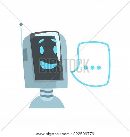 Smiling funny robot and speech bubble, voice support service chat bot, virtual online help customer support cartoon vector Illustration isolated on a white background