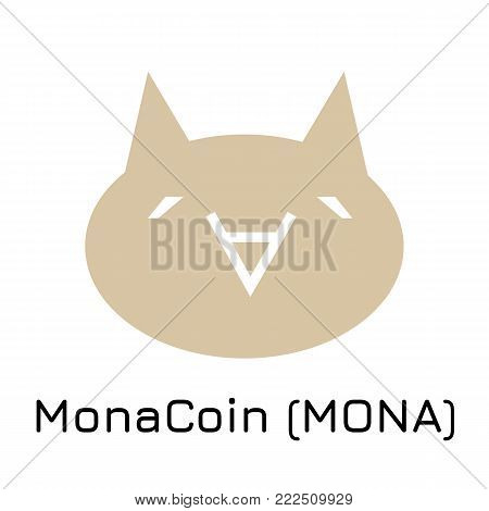 Vector illustration crypto coin icon on isolated white background MonaCoin (MONA). Name of the crypto currency and the short trade name on the exchange. Digital currency