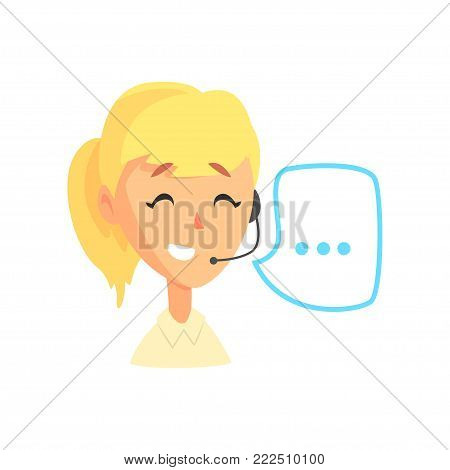 Female call center agent and speech bubble, online customer support service assistant with headphones, cartoon vector Illustration isolated on a white background