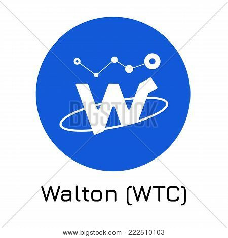 Vector illustration crypto coin icon on isolated white background Walton (WTC). Name of the crypto currency and the short trade name on the exchange. Digital currency
