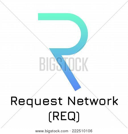 Vector illustration crypto coin icon on isolated white background Request Network (REQ). Name of the crypto currency and the short trade name on the exchange. Digital currency