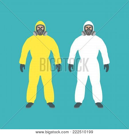 protective clothing   man set vector illustration flat style front  view
