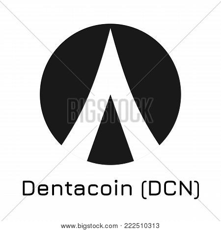 Vector illustration crypto coin icon on isolated white background Dentacoin (DCN). Name of the crypto currency and the short trade name on the exchange. Digital currency
