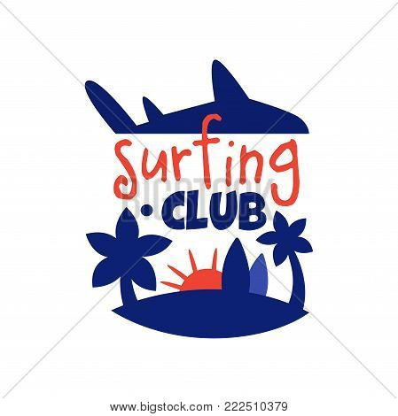 Surfing club logo, surf retro badge with palms vector Illustration isolated on a white background