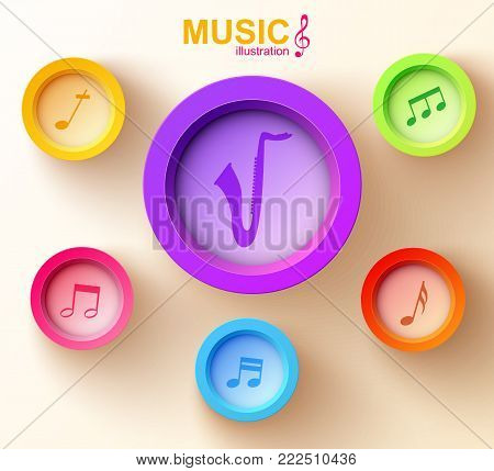 Web music chart concept with colorful circles saxophone and musical notes on light background vector illustration