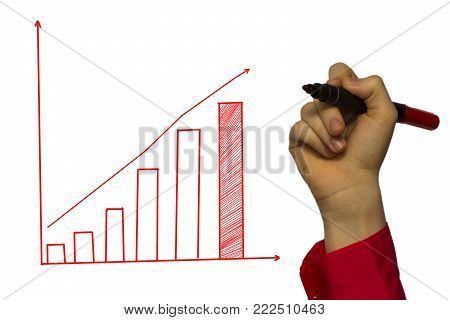 hand of businessman drawing graphics a growing graph.