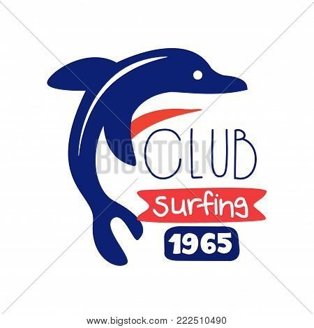 Surfing club logo since 1965, surf retro badge with dolphing vector Illustration isolated on a white background