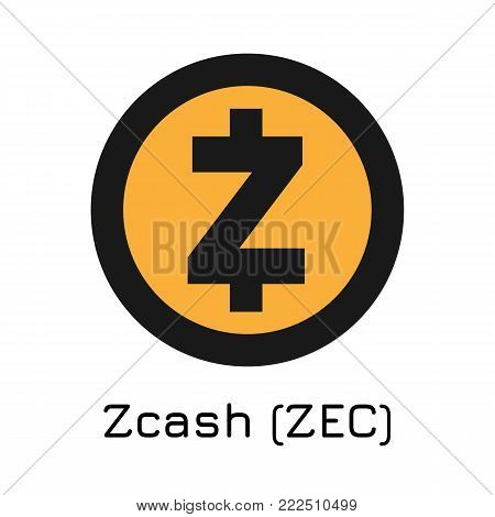 Vector illustration crypto coin icon on isolated white background Zcash (ZEC). Name of the crypto currency and the short trade name on the exchange. Digital currency