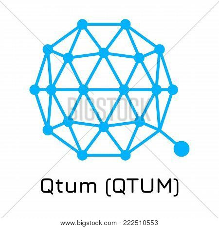 Vector illustration crypto coin icon on isolated white background Qtum (QTUM). Name of the crypto currency and the short trade name on the exchange. Digital currency