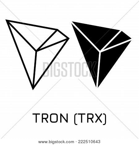 Vector illustration crypto coin icon on isolated white background TRON (TRX). Name of the crypto currency and the short trade name on the exchange. Digital currency