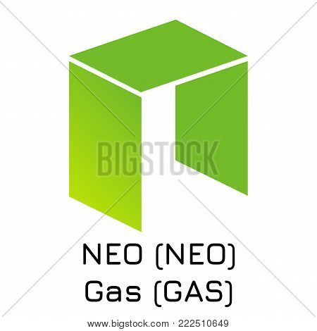 Vector illustration crypto coin icon on isolated white background NEO (NEO) Gas (GAS). Name of the crypto currency and the short trade name on the exchange. Digital currency