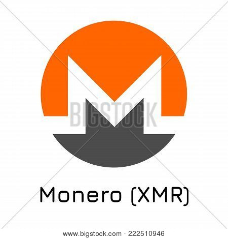 Vector illustration crypto coin icon on isolated white background Monero (XMR). Name of the crypto currency and the short trade name on the exchange. Digital currency