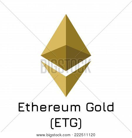Vector illustration crypto coin icon on isolated white background Ethereum Gold (ETG). Name of the crypto currency and the short trade name on the exchange. Digital currency