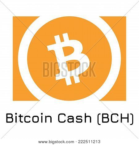 Vector illustration crypto coin icon on isolated white background Bitcoin Cash (BCH). Name of the crypto currency and the short trade name on the exchange. Digital currency