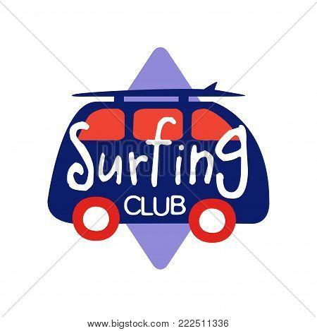 Surfing club logo, retro badge for surf school, beach rest, summer water sports vector Illustration isolated on a white background