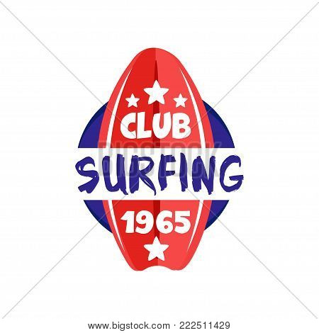 Surfing club logo estd 1965, retro badge for surf school, beach rest, summer water sports vector Illustration isolated on a white background