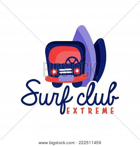 Surfing club logo, extreme surf retro badge vector Illustration isolated on a white background