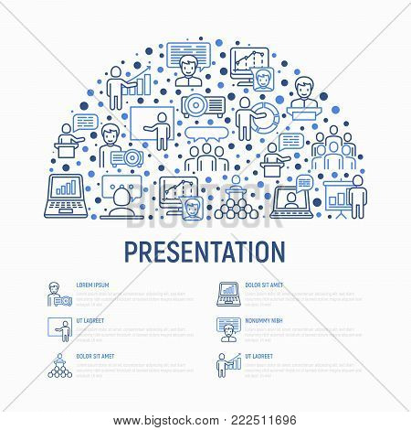 Presentation concept in half circle with thin line icons: seminar, human at tribune, meeting, projector, audience, video call, conference, discussion. Modern vector illustration for web page.
