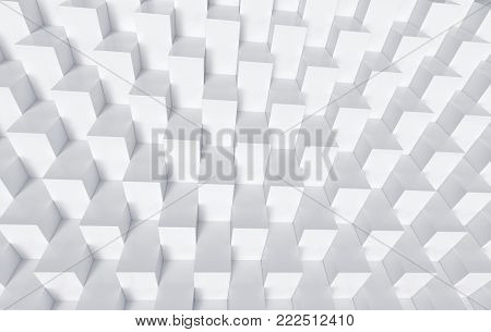 White cubes background, neat geometric pattern in 3d render