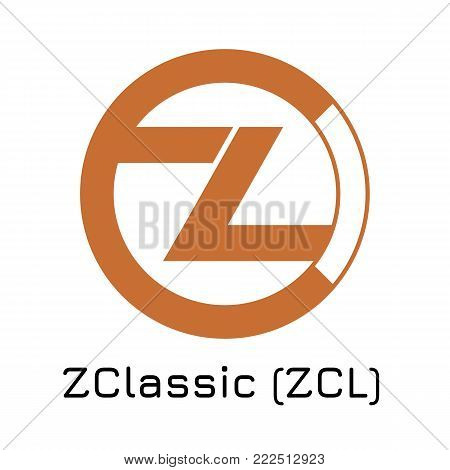 Vector illustration crypto coin icon on isolated white background ZClassic (ZCL). Name of the crypto currency and the short trade name on the exchange. Digital currency