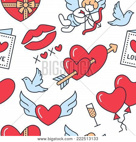 Valentines day seamless pattern. Love, romance flat line icons - hearts, chocolate, kiss, Cupid, doves, valentine card. Red white blue wallpaper for february 14 celebration.