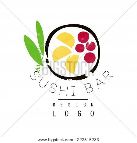 Sushi bar logo design, Japanese food label, badge for sushi bar or seafood restaurant watercolor vector Illustration isolated on a white background