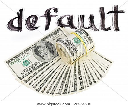 Economy Crisis Of Usa Dollar Currency Concept Photo With Default Sign On White