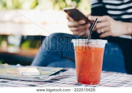 Ice tea , lemon tea on table with blurred background, selective focus.