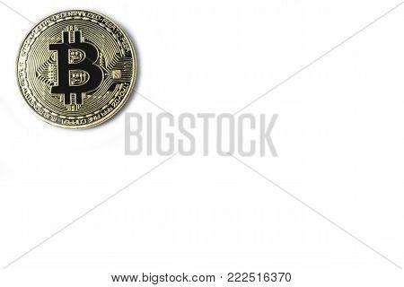 Four Bitcoin On A White Background.